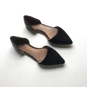 Madewell D'Orsay Flat Suede Leather Black Point